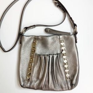 B. Makowsky Silver Leather Crossbody Studded